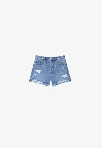 MIT RISSEN  - Denim shorts - dark blue
