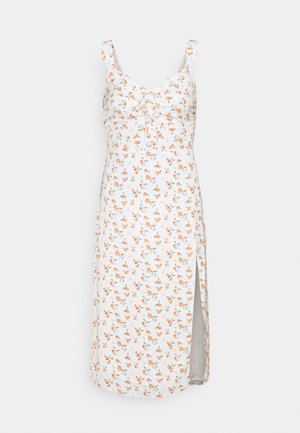 CINCH FRONT MIDI DRESS - Day dress - white
