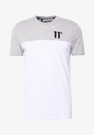 PANEL BLOCK - Print T-shirt - white, light grey marl & evening haze lilac