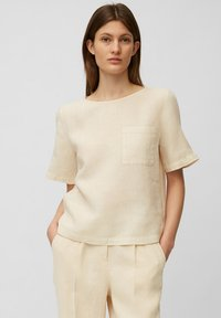 Marc O'Polo - BLOUSE SHORT SLEEVE CHEST POCKET STYLE - Blouse - summer taupe - 0