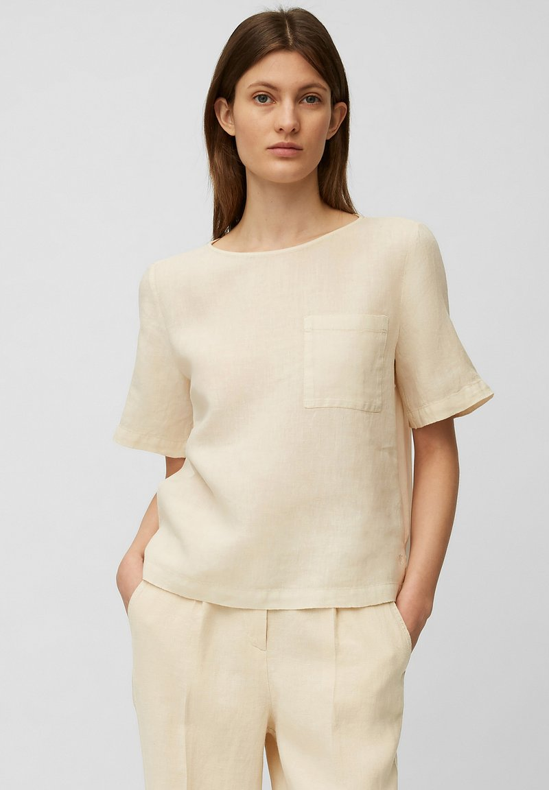 Marc O'Polo - BLOUSE SHORT SLEEVE CHEST POCKET STYLE - Blouse - summer taupe