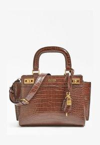 SAC A MAIN KATEY IMPRIME CROCO - Handbag - marron