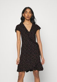 ONLY - ONLVALENTINA FIXED WRAP DRESS - Jerseykjole - black/ditsy - 0