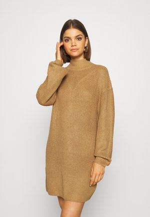NMSIAN HIGH NECK DRESS - Jumper dress - tigers eye