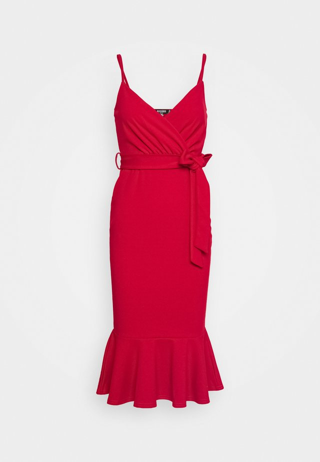 STRAPPY WRAP PEPLUM HEM MIDI DRESS - Day dress - red