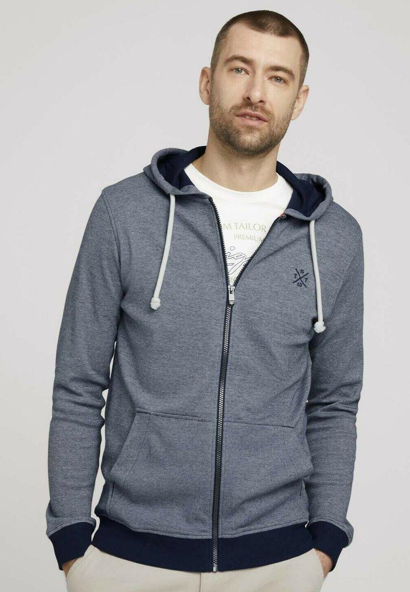 TOM TAILOR - Zip-up sweatshirt - offwhite navy stripe