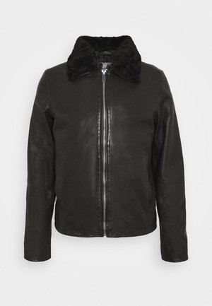 SENSE - Leather jacket - black