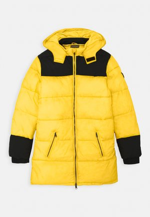 PADDED HOODED UNISEX - Zimní kabát - black/yellow combo