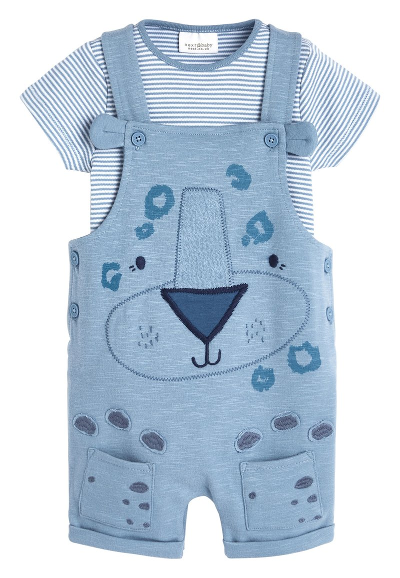 Next - BLUE APPLIQUé CHARACTER DUNGAREES AND BODYSUIT SET (0MTHS-2YRS) - Body - blue