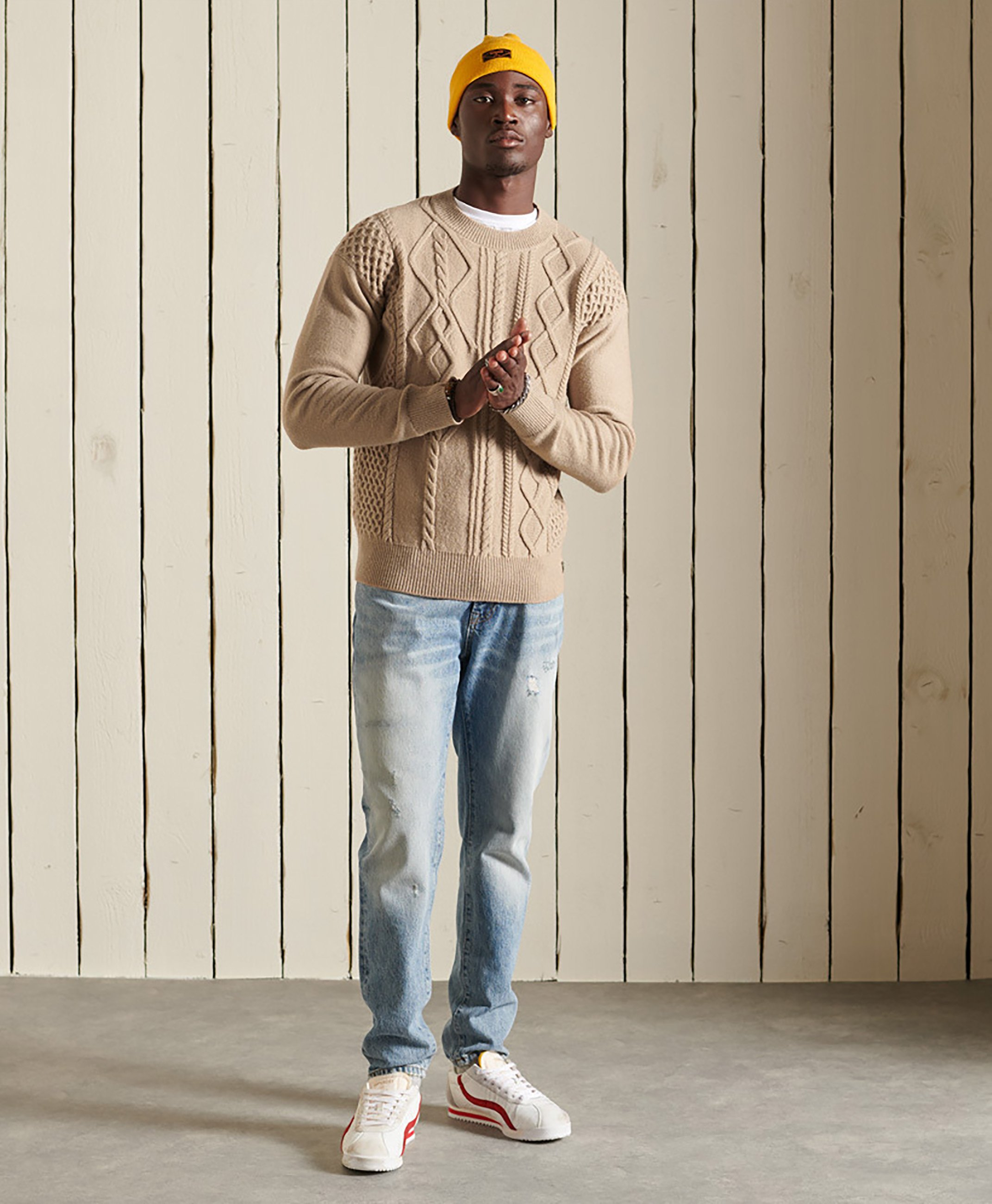 Homme PATCHWORK CABLE CREW - Pullover