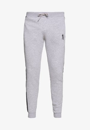 WITH PRINTED TAPING - Tracksuit bottoms - grey marl /black