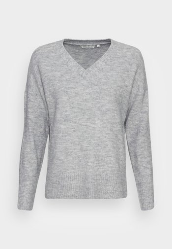 COZY V NECK - Jumper - light silver grey melange