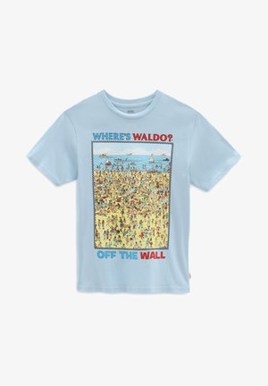 BY VANS X WHERES WALDO BEACH SS BOYS - Print T-shirt - light blue