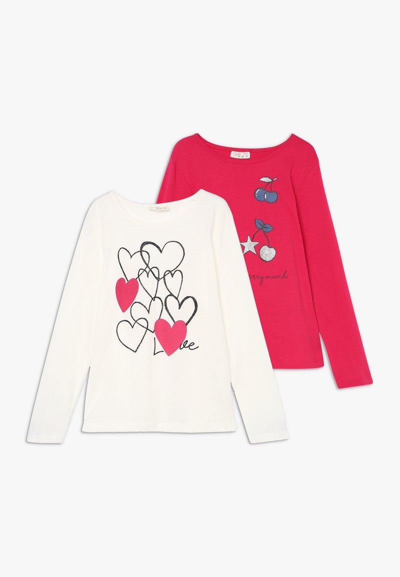 OVS - PRINT 2 PACK - Långärmad tröja - snow white/rose red