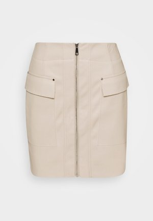 ZIP FRONT SKIRT - Mini skirt - creme