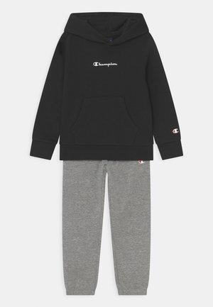 TRACKSUIT HOODY SET UNISEX - Trainingsanzug - mottled grey/black