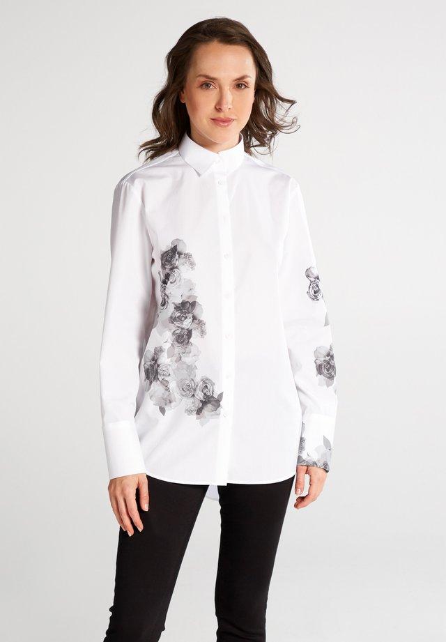 REGULAR FIT - Overhemdblouse - weiss/grau