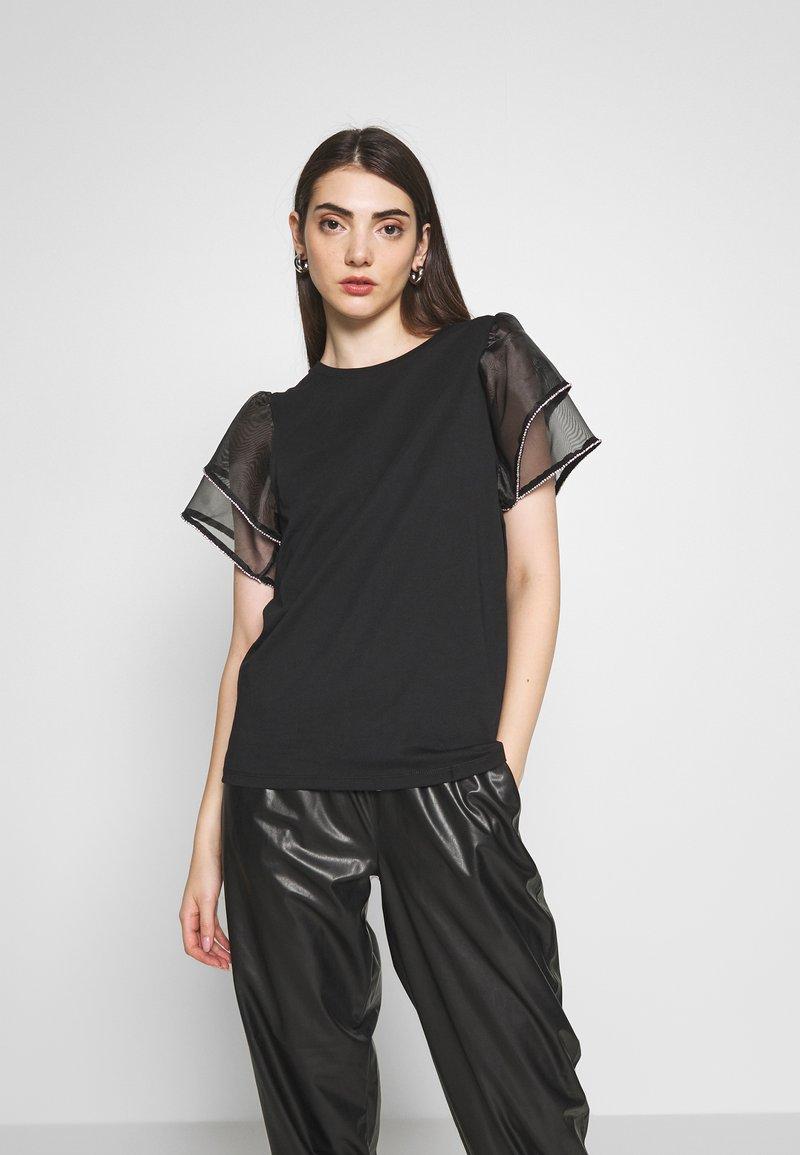 River Island - FRILL DIAMANTE - T-shirts med print - black