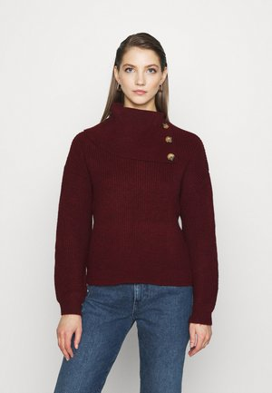 ONLJADA ROLL NECK - Jumper - pomegranate/black melange