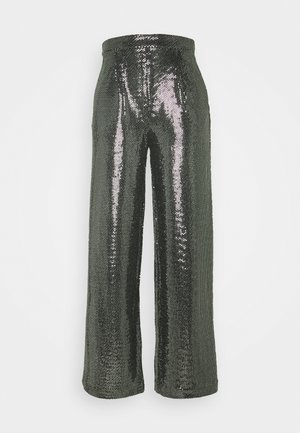 YASTULAH HW WIDE SEQUIN PANT - Stoffhose - silver