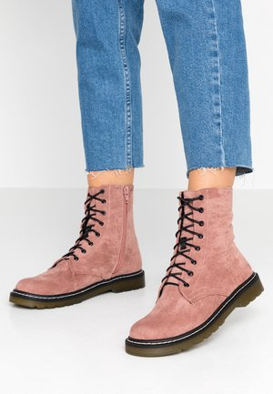 Šněrovací kotníkové boty - blush