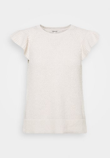 RUFFLE STICH - Basic T-shirt - marled vanilla