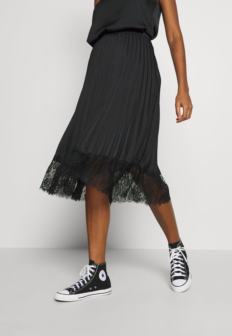 Vila - VIMOON MIDI SKIRT FULL - A-line skirt - black