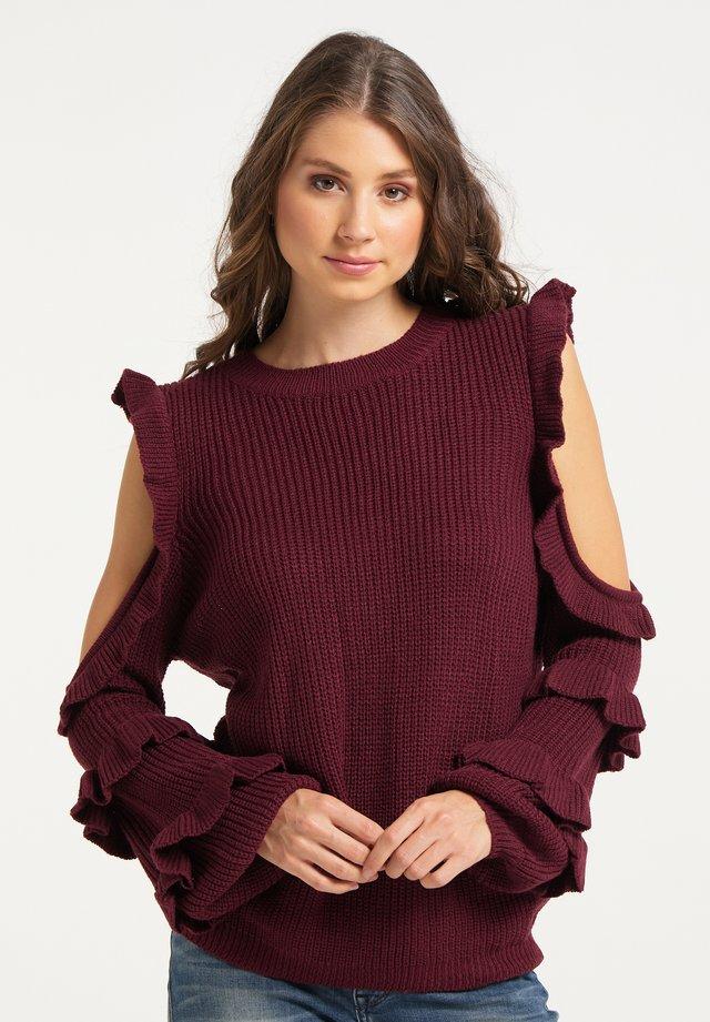 Stickad tröja - dunkelrot
