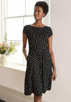 AMELIE  - Jersey dress - schwarz/kreiderosa, getupft