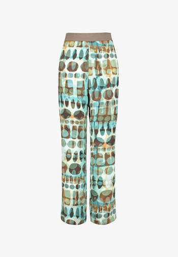 CARLOTTA MIT PRINT - Trousers - cameo blue gemustert