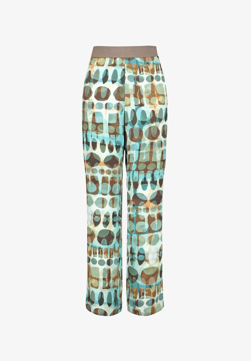 Samoon - CARLOTTA MIT PRINT - Trousers - cameo blue gemustert