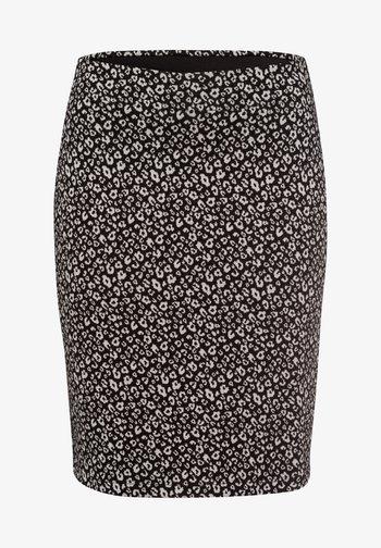 MIT PRINT - Pencil skirt - black
