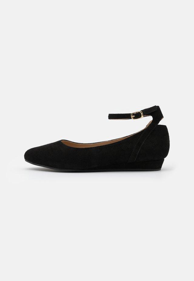 LEATHER - Ballerina's met enkelbandjes - black