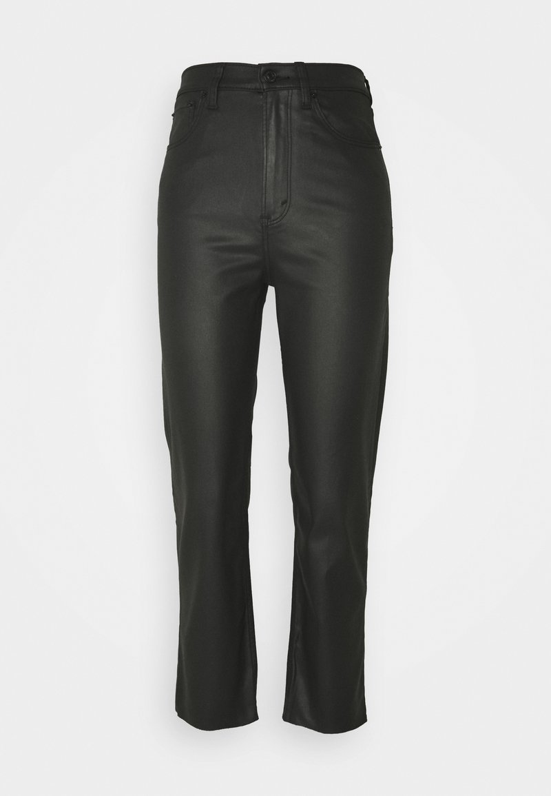 Abercrombie & Fitch - COATED CURVY STRAIGHT LEG  - Straight leg jeans - coated black