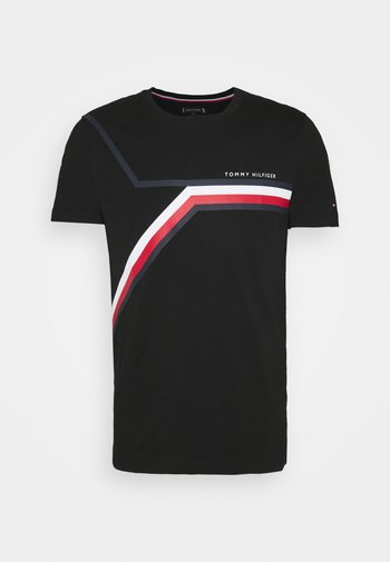 SPLIT CHEST STRIPE TEE - T-shirt med print - black