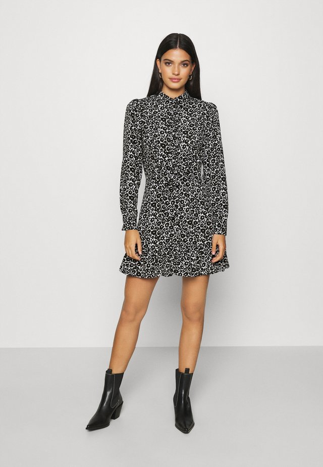 FLORAL TIE FRONT MINI - Shirt dress - mono