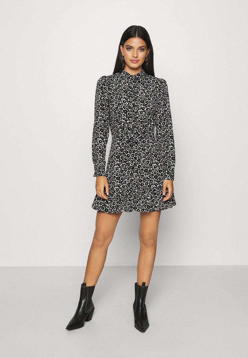 Topshop - FLORAL TIE FRONT MINI - Shirt dress - mono