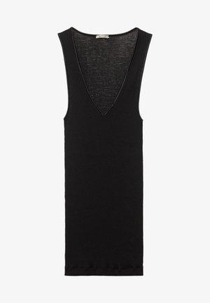 MIT V-AUSSCHNITT AUS SATIN - Undershirt - black