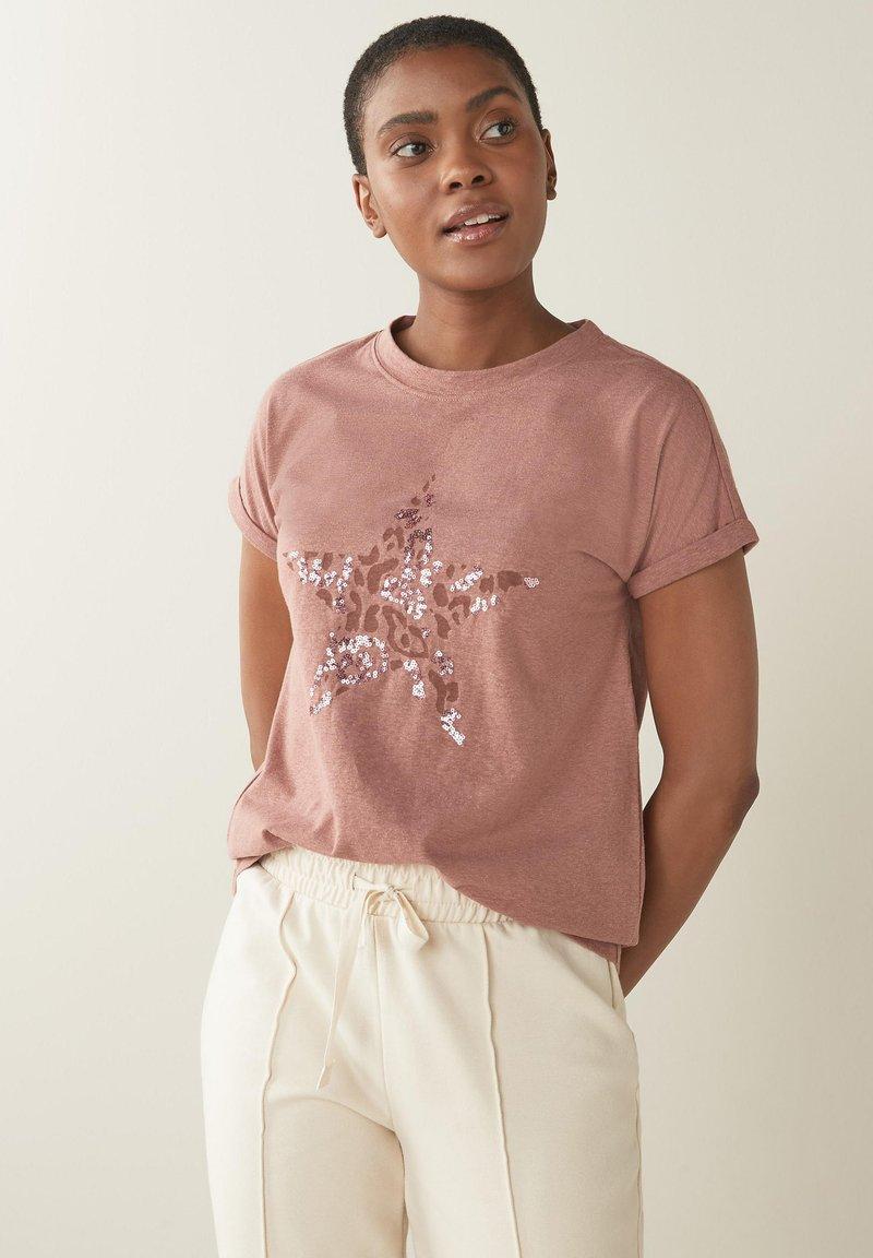 Next - STAR - Print T-shirt - pink