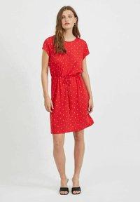 Vila - VIMOONEY STRING - Jersey dress - mars red - 1