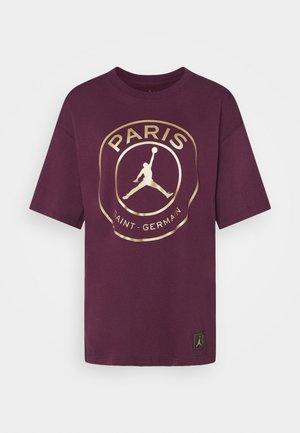 OVERSIZE TEE - Camiseta estampada - bordeaux/metallic gold