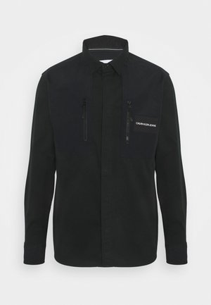 MIXED MEDIA OVERSHIRT - Shirt - black