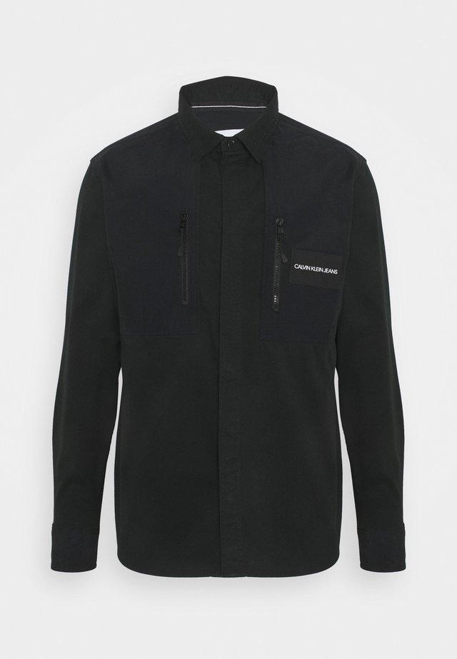 MIXED MEDIA OVERSHIRT - Shirt - black