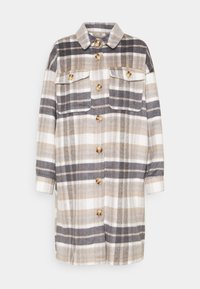 ONLY - ONLHANNAH CHECK LONG SHACKET  - Classic coat - light grey melange/light brown - 4