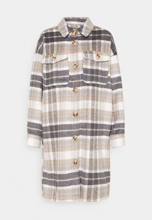 ONLHANNAH CHECK LONG SHACKET  - Classic coat - light grey melange/light brown