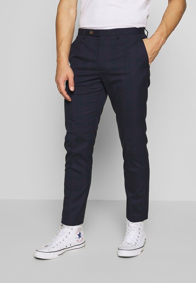HOMEWOOD CHECK SLIM TROUSER - Tygbyxor - navy