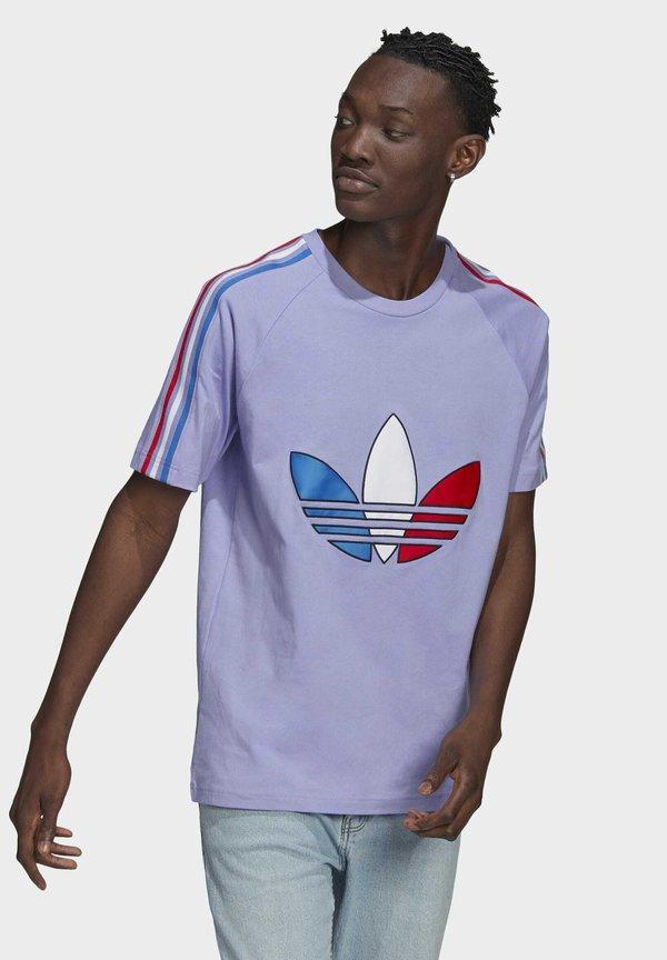 adidas Originals ADICOLOR TRICOLOR T-SHIRT - T-shirt z nadrukiem - purple/fioletowy Odzież Męska AAHX
