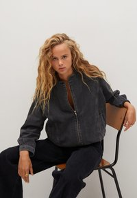 Mango - LUNA - Jeansjacke - black denim - 4