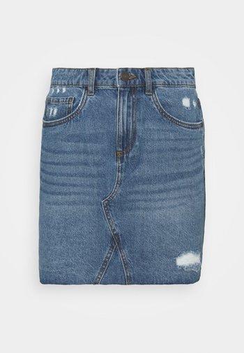 NMFREJA DESTROY SKIRT  - Mini skirt - light blue denim