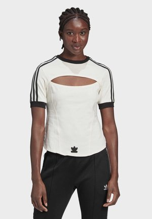 PAOLINA RUSSO 3 STRIPES COLLAB SHORT SLEEVE TEE - T-shirt con stampa - white
